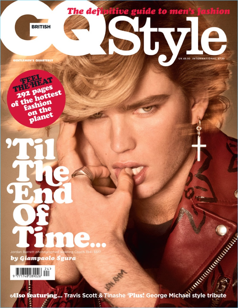 Jordan Barrett channels George Michael for the spring 2017 cover of British GQ Style.