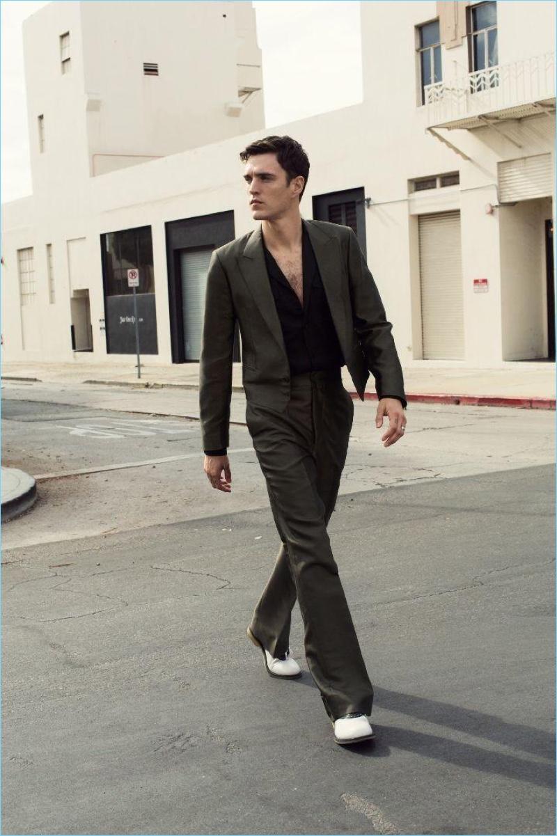 Taking to the streets of Los Angeles, Josh Beech wears Bottega Veneta.