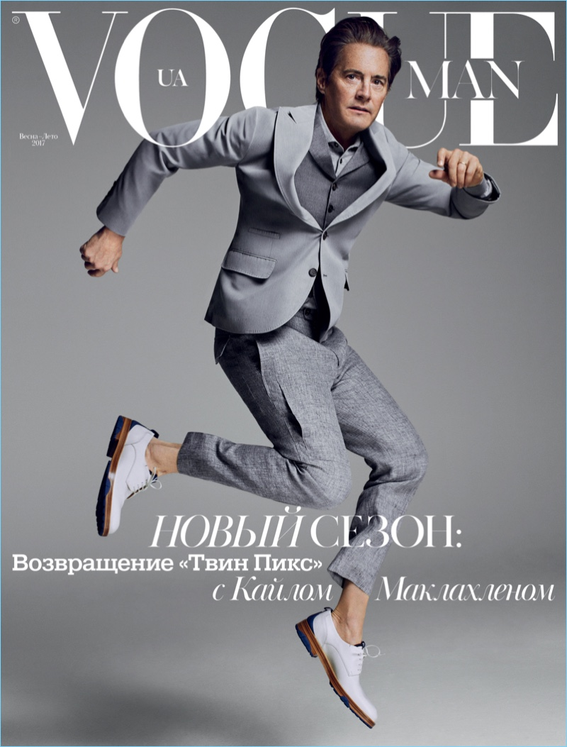 Leaping into action, Kyle MacLachlan covers Vogue Man Ukraine.