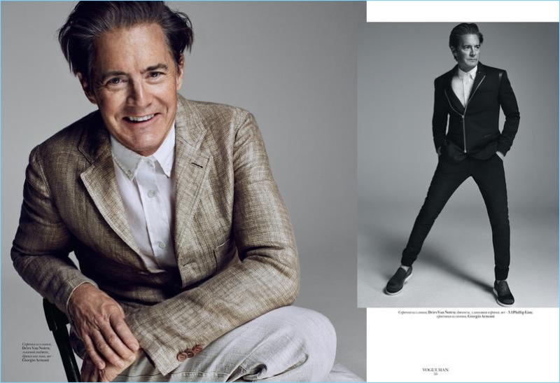 Michael Schwartz photographs Kyle MacLachlan in Giorgio Armani, Dries Van Noten, and 3.1 Phillip Lim.
