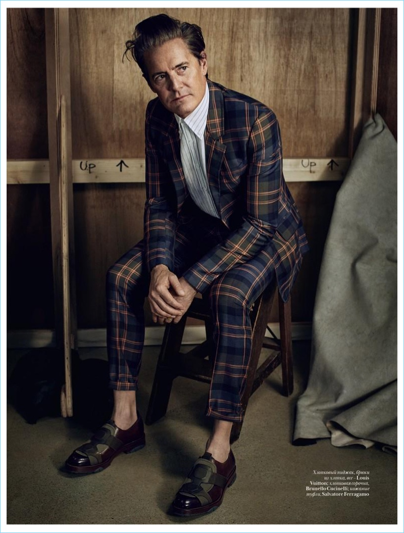 Sporting a plaid suit, Kyle MacLachlan wears Louis Vuitton as well as pieces from Brunello Cucinelli and Salvatore Ferragamo.