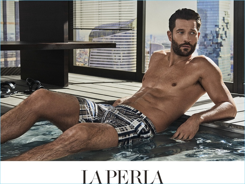 John Halls models La Perla swimwear for the label's spring-summer 2017 campaign.
