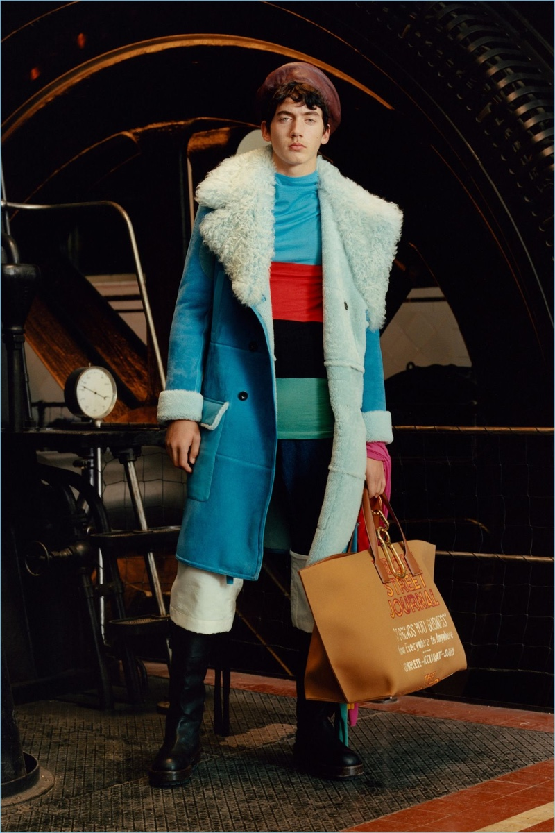The shearling coat receives a colorful update in teal for Loewe's fall-winter 2017 collection.