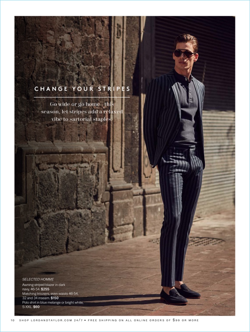 Connecting with Lord & Taylor, Mark Cox wears a look from Selected Homme.