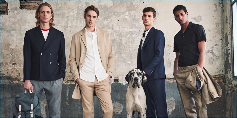 Models Paul Boche, Tommy Marr, David Trulik, and Tidiou M'Baye wear tailoring looks from Mango Man.