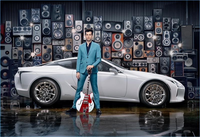 Music producer Mark Ronson dons a two-button suit for Lexus' Make Your Mark advertisement.