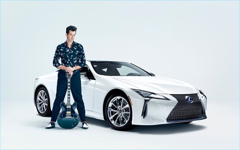 Mark Ronson channels rockabilly style in a music note shirt for Lexus' Make Your Mark campaign.