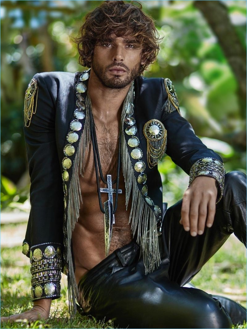 Brazilian model Marlon Teixeira wears a bold number from Balmain.