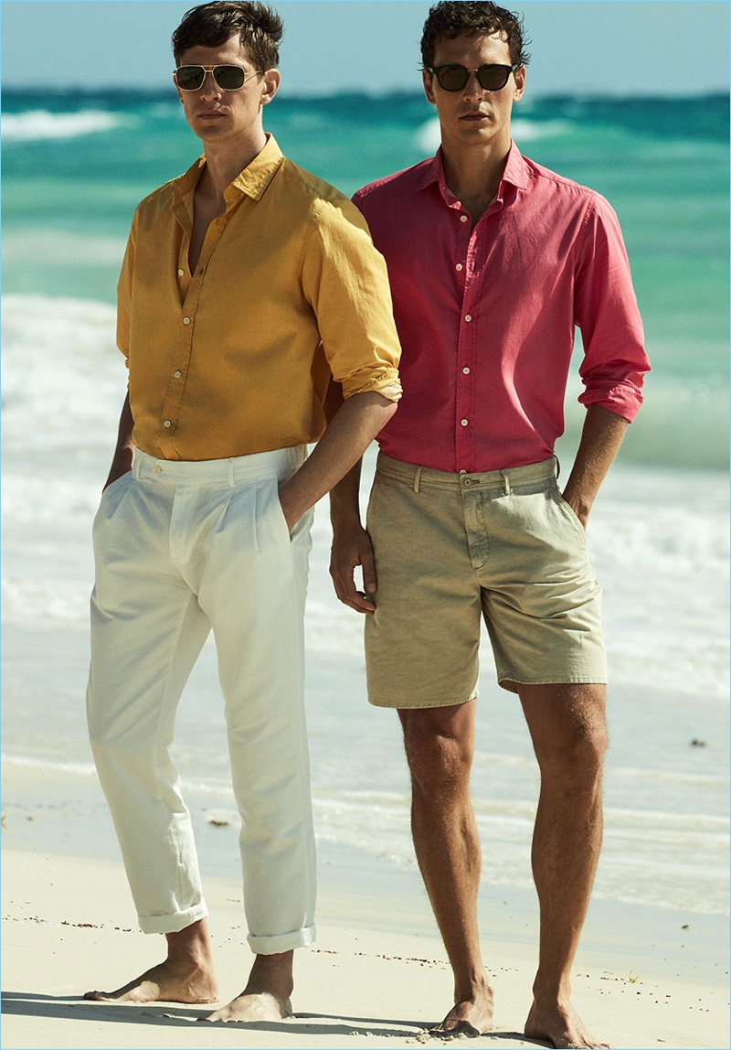 Summer style is front and center as Mathias Lauridsen and Alexandre Cunha don colorful shirts from Massimo Dutti.