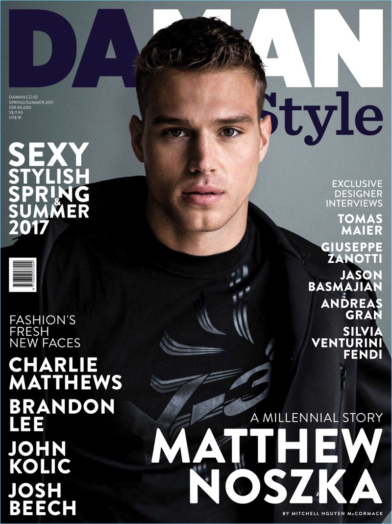 Matthew Noszka covers the spring-summer 2017 issue of Da Man Style.
