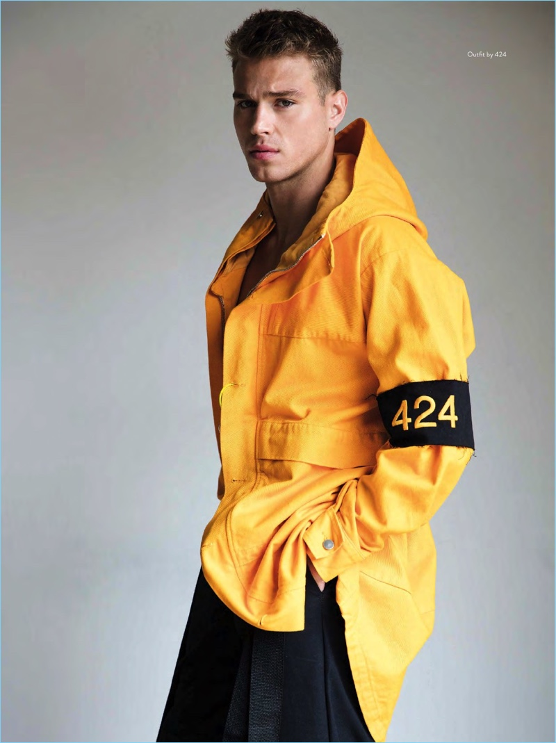 Standing out in yellow, Matthew Noszka rocks a look from 424.