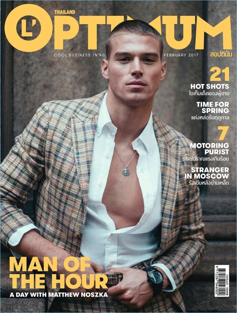 Matthew Noszka covers L'Optimum Thailand in a plaid suiting number.
