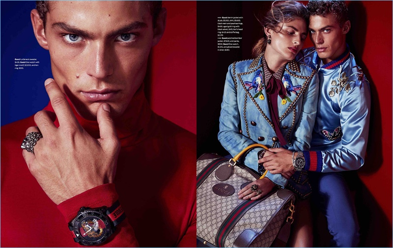 Model Jacob Hankin wears clothing and accessories by Gucci for the pages of Men's Style.