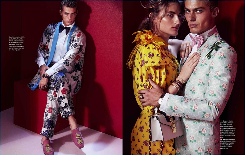 Embracing prints, Jacob Hankin wears Gucci for an editorial in Men's Style.