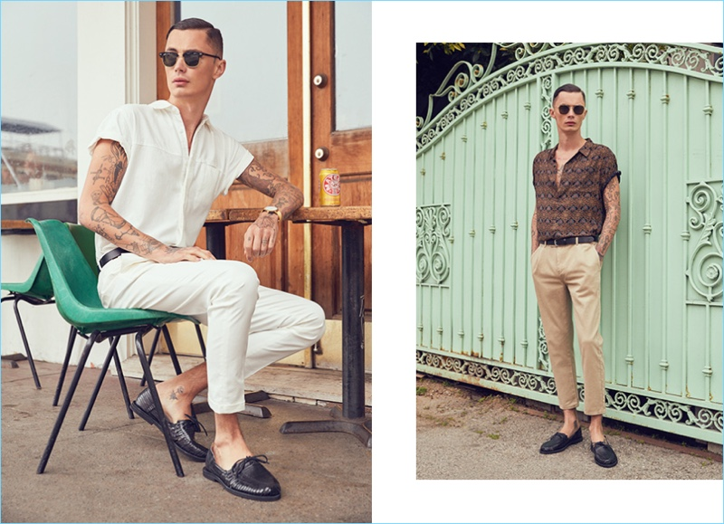 Left: A summer vision in white, Simon Kotyk wears a Simon Miller shirt $230 and Scotch & Soda formal chino pants $135. Simon also sports Chamula Merida shoes $103, Ray-Ban Clubmaster Classic sunglasses $150, a Saturdays NYC Rockaway belt $85, and Larsson & Jennings Lugano 40mm watch $315. Right: Relaxed, Simon wears a Rolla's short-sleeve shirt $69 and sand colored pants $70. Simon also models Chamula Merida shoes $103, Ahlem Concorde sunglasses $470, and a Scotch & Soda leather belt $48.