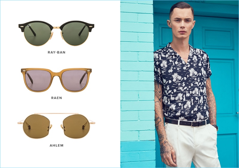 Embracing vacation style, Simon Kotyk wears a Native Youth print short-sleeve shirt $70, Scotch & Soda formal chinos $135, Dr. Martens Penton New Bar loafers $130, a Larsson & Jennings Norse watch $315, and Saturdays NYC Rockaway Belt $85.