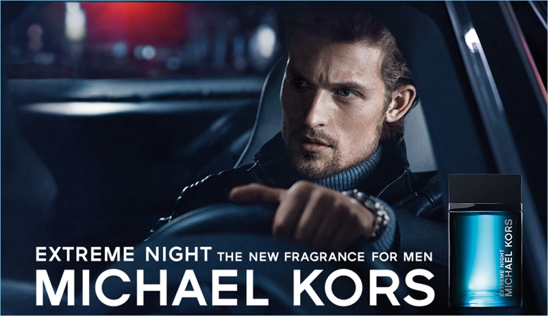 Wouter Peelen stars in the fragrance campaign for Michael Kors Extreme Night.