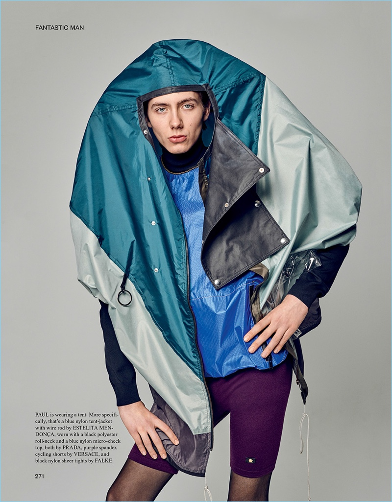 Paul Hameline sports an Estelita Mendonça jacket with Versace cycling shorts. The model also sports a turtleneck and top by Prada.