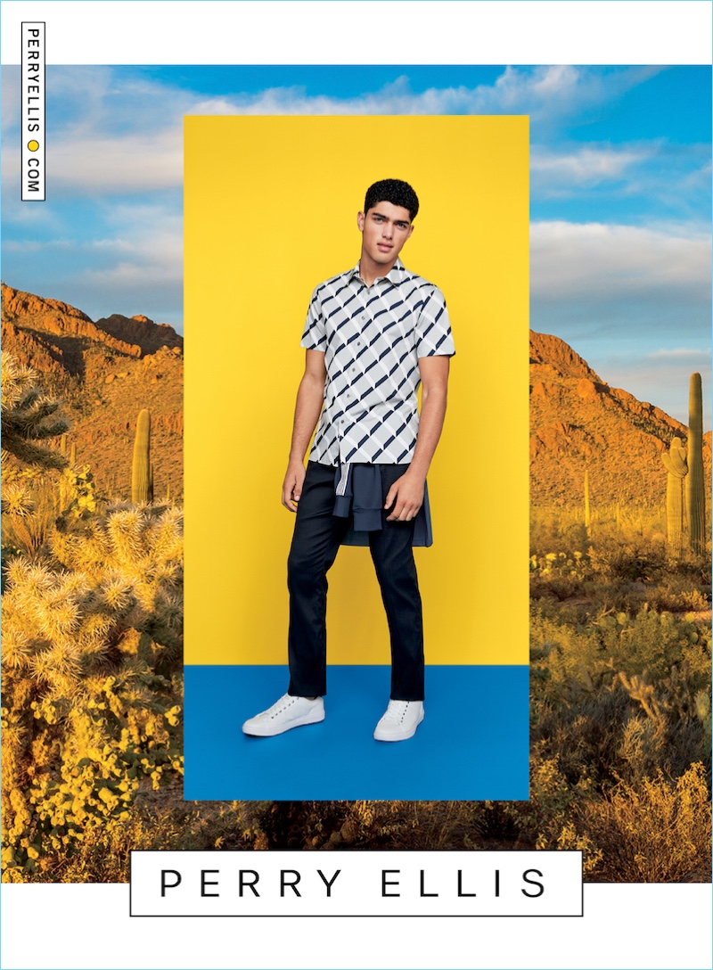 Torin Verdone goes casual in a graphic short-sleeve shirt and pants for Perry Ellis' spring-summer 2017 campaign.