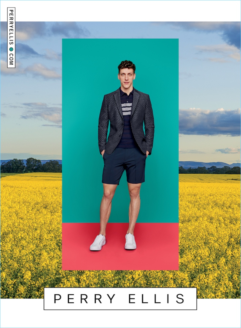 Lane Foster sports Perry Ellis twill tech shorts $59.50 with a smart polo and sport jacket for the brand's spring-summer 2017 campaign.