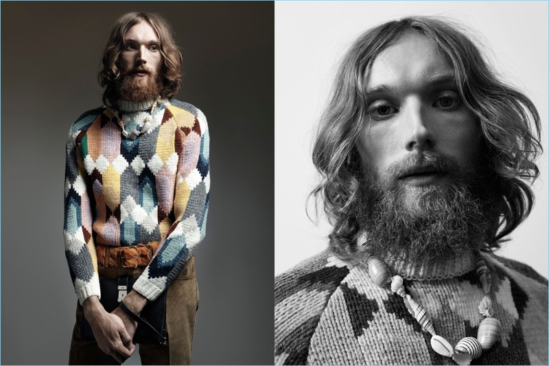 Aiden Andrews channels a bohemian look in a multicolored Prada sweater for the brand's Nonconformists campaign.