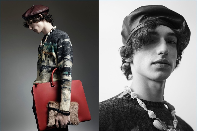 Adam Osborne sports a leather beret and graphic sweater for Prada's Nonconformists campaign.