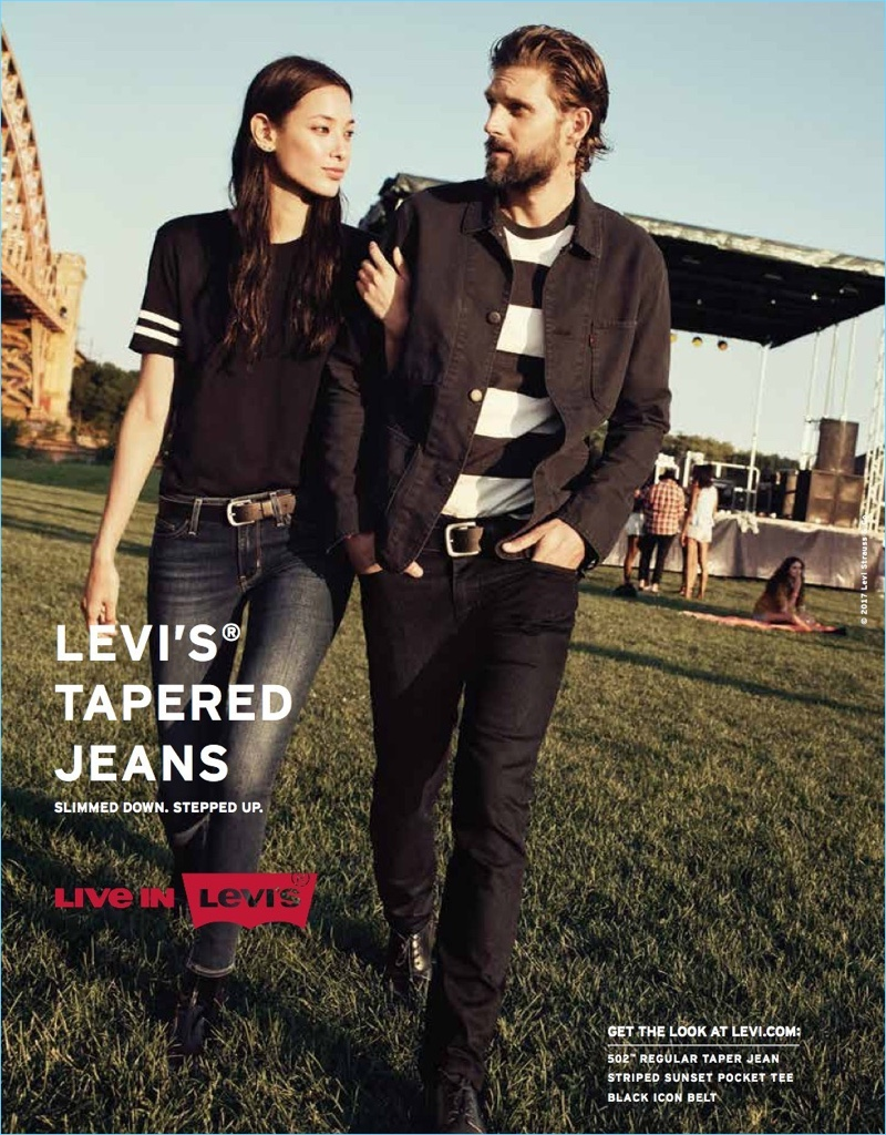 RJ Rogenski fronts Levi's spring-summer 2017 campaign. The American model sports the brand's tapered jeans.