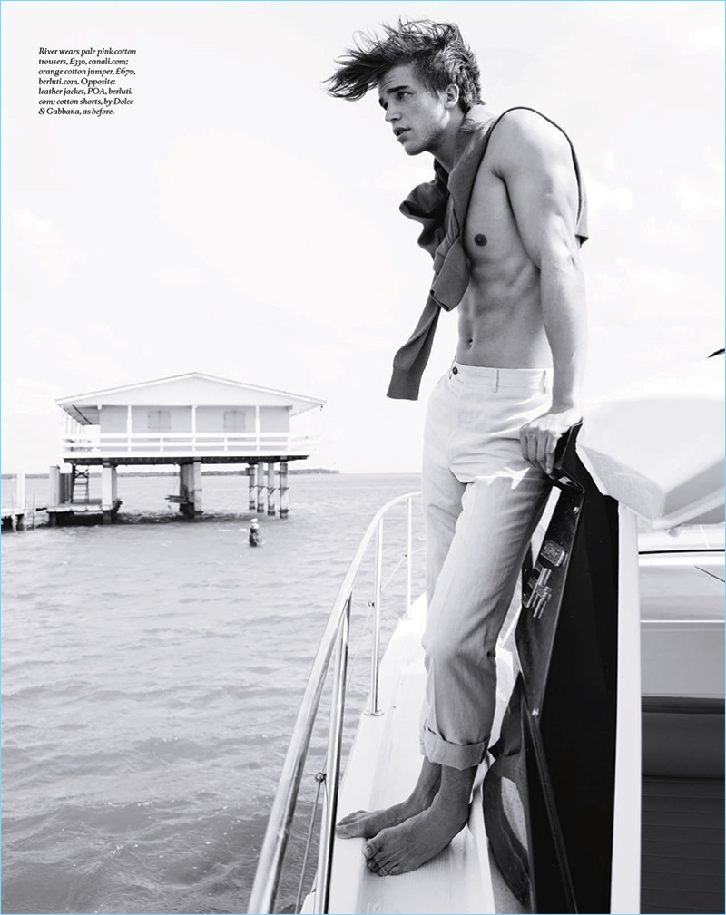 Starring in an editorial for Boat International, River Viiperi sports Canali trousers and a Berluti sweater.
