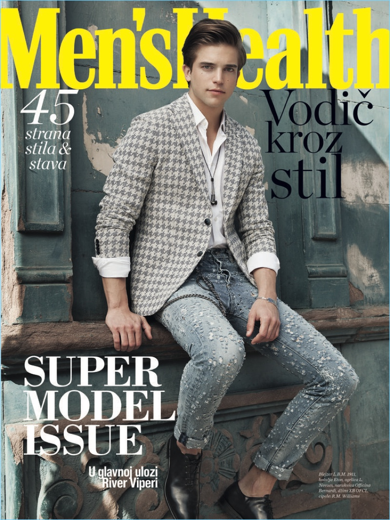 River Viiperi covers the April 2017 issue of Men's Health Serbia.