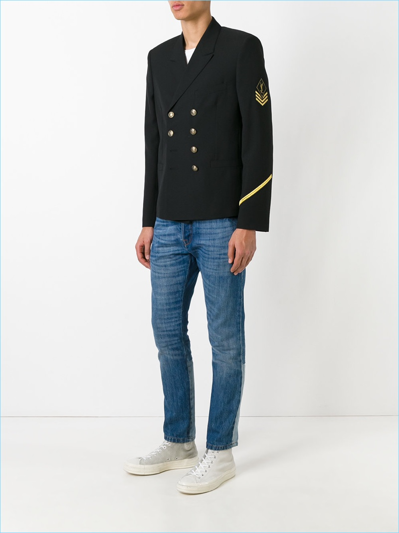 Saint Laurent Double-Breasted Military Jacket Look