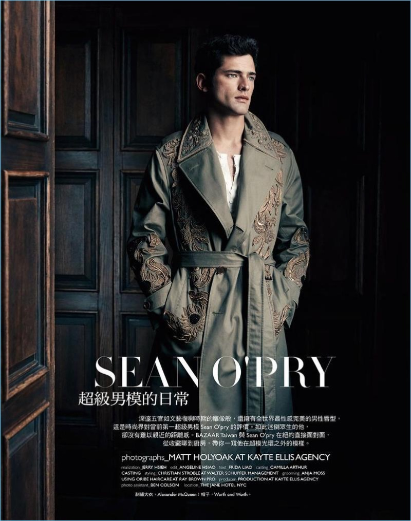 Model Sean O'Pry dons a regal Alexander McQueen coat for Harper's Bazaar Man Taiwan.