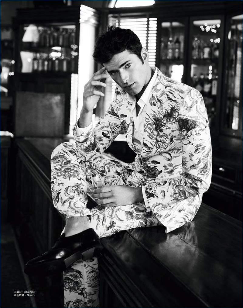 Matt Holyoak photographs Sean O'Pry in a print suit from Italian fashion house, Gucci.