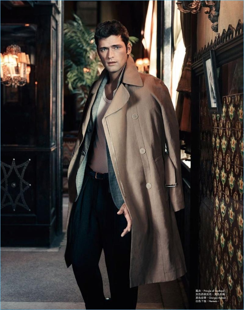 American model Sean O'Pry wears Pringle of Scotland, Giorgio Armani, and Hermes.