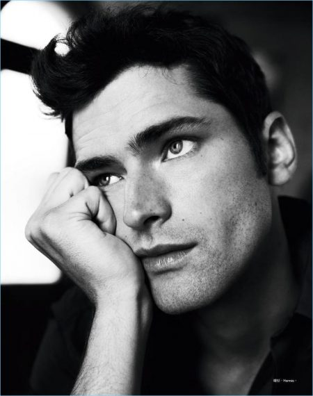 Daydreaming, Sean O'Pry wears Hermes for the pages of Harper's Bazaar Man Taiwan.