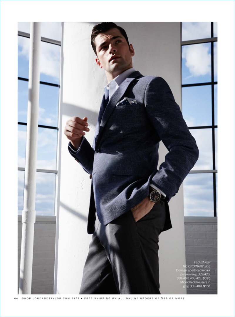 American model Sean O'Pry sports a maroon Ted Baker donegal sportcoat $395 and grey micro-check trousers $150.