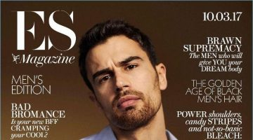 Crossing his arms, Theo James covers ES magazine.