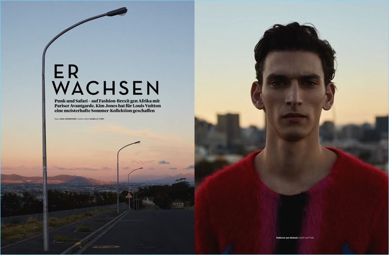 Starring in an editorial for L'Officiel Hommes Germany, Thibaud Charon wears a colorful Louis Vuitton sweater.
