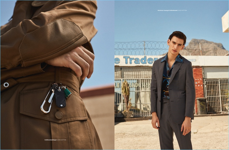 Jana Gerberding photographs Thibaud Charon in Louis Vuitton for L'Officiel Hommes Germany.