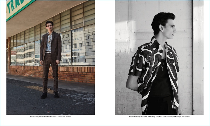 Model Thibaud Charon wears spring-summer 2017 fashions by Louis Vuitton.