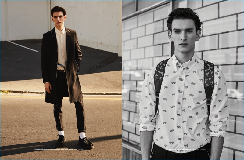 Thibaud Charon sports looks from Louis Vuitton for the pages of L'Officiel Hommes Germany.