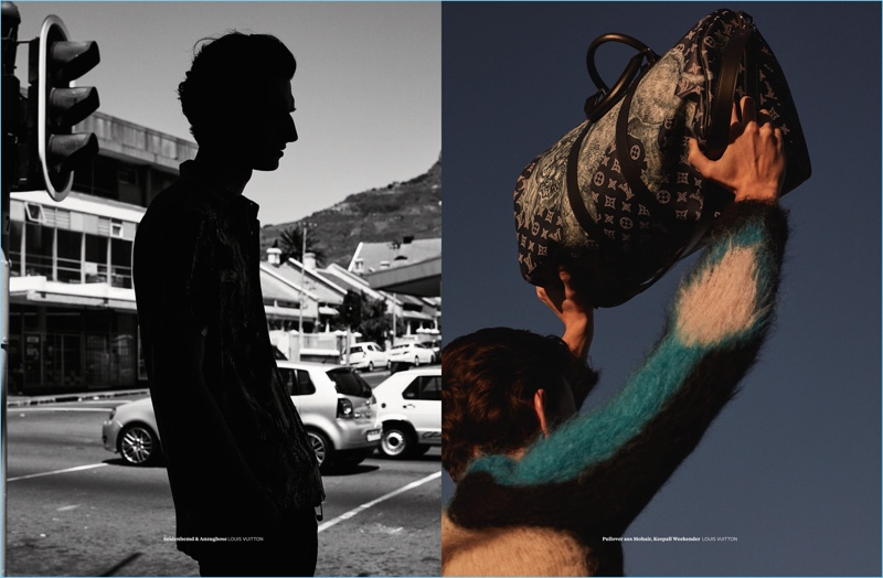 Sporting Louis Vuitton, Thibaud Charon graces the pages of L'Officiel Hommes Germany.