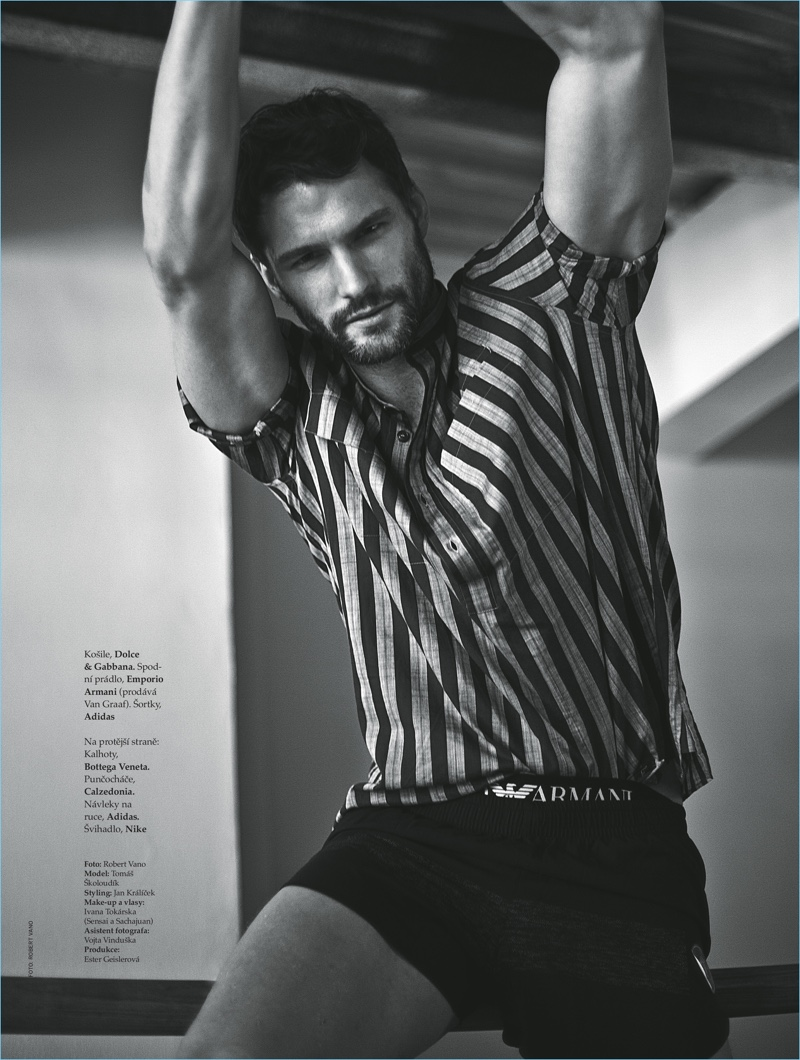 Tomas Skoloudik sports a striped Dolce & Gabbana shirt with Emporio Armani underwear and Adidas shorts.