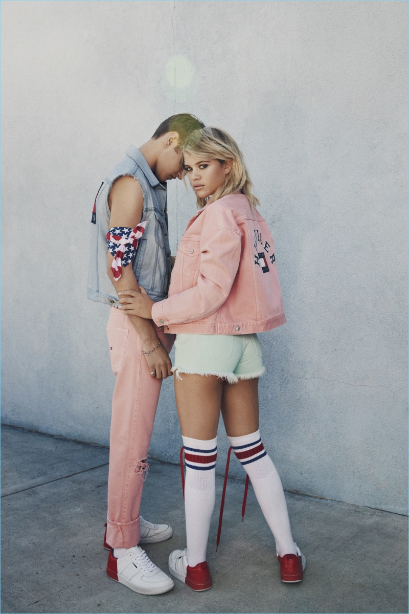 Tommy Jeans taps Anwar Hadid and Sofia Richie for its spring-summer 2017 campaign. Going casual, Anwar wears a Tommy Jeans denim vest with quartz pink pastel jeans $129.50 and signature sneakers $99.50.
