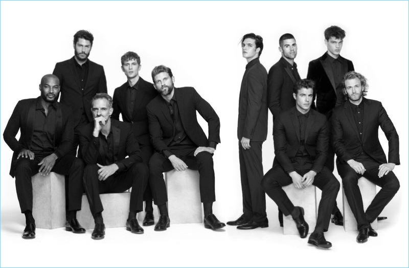 Tyson Beckford, Tyson Ballou, Ben Shaul, Mathias Lauridsen, RJ Rogenski, Matthew Terry, Chad White, David Genat, Filip Hrivnak, and Brad Kroenig appear in a photo shoot for VMAN.