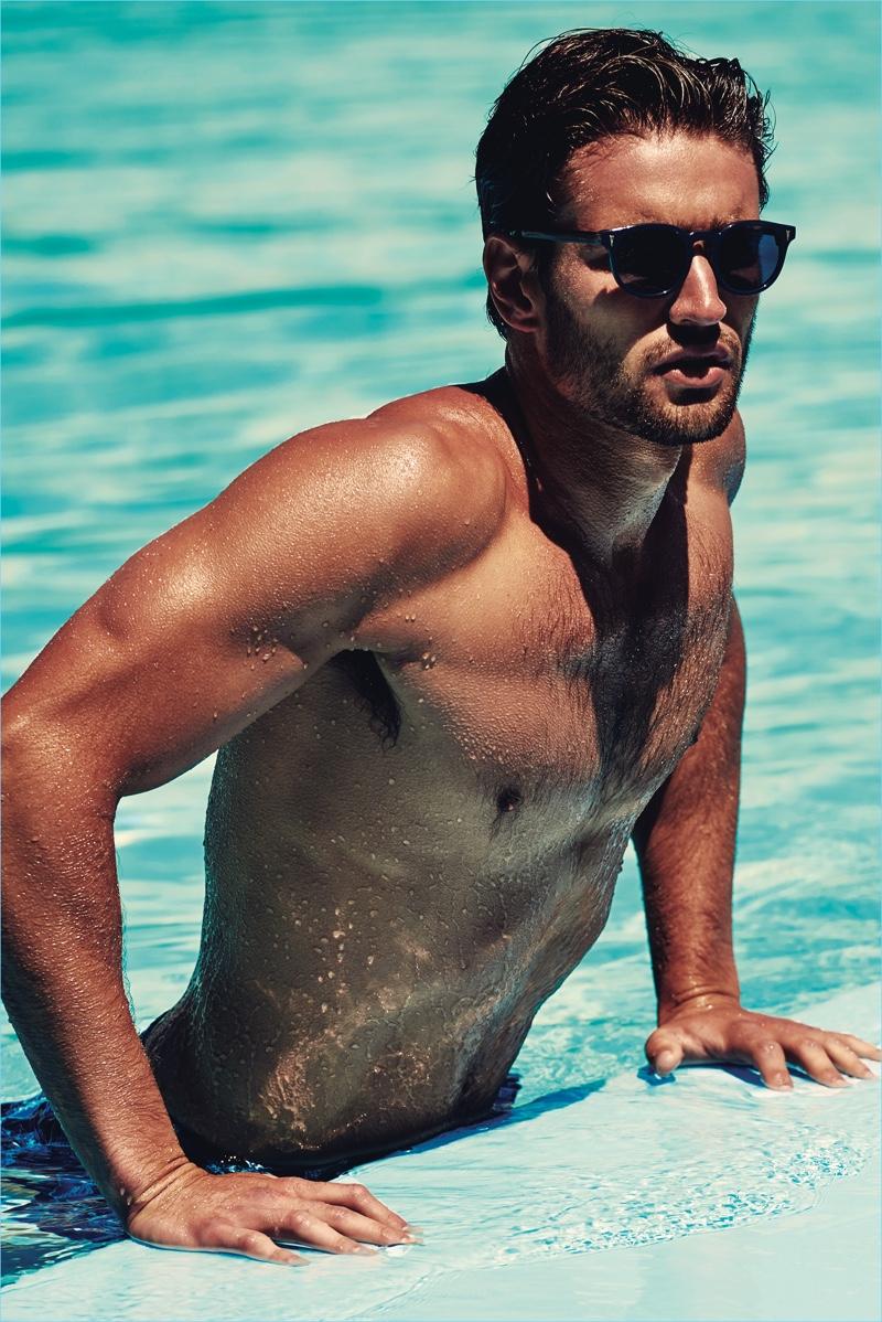 99cd9323315 Australian model Jack Tyerman sports Vilebrequin Bond sunglasses.