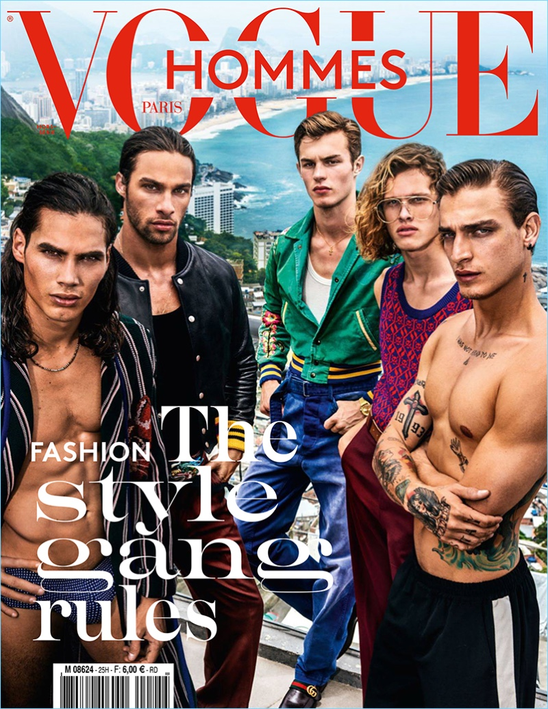 Vito Basso, Pablo Morais, Kit Butler, Ariel Rosa, and Jonathan Bellini  cover the spring-summer 2017 issue of Vogue Hommes Paris.