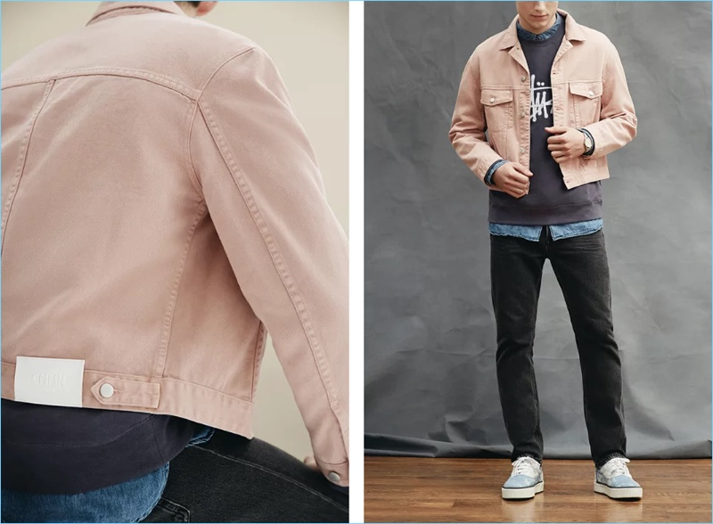Change up your denim with a pink CMMN SWDN Brody cropped denim jacket $410. Here, Mr Porter styles the exclusive must-have with a Stüssy embroidered fleece-back cotton-blend jersey sweatshirt $75 and an Arpenteur washed linen and cotton-blend chambray shirt $260. The look also includes Acne Studios Van denim jeans $290, Lanvin tie-dyed canvas sneakers $690, and a Uniform Wares C35 PSI-01 stainless steel watch $800.
