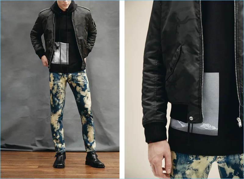 Get into the modern bleached denim trend with these Gucci slim-fit studded acid-washed denim jeans $860. Mr Porter makes a casual style statement pairing the jeans with a Saint Laurent camouflage-print shell bomber jacket $2,290, Alexander Wang wool and cashmere-blend zip-up hoodie $365, and Balenciaga leather jodhpur boots $945.