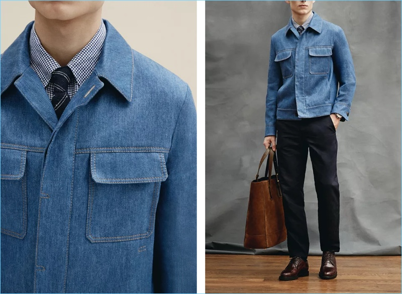 Denim goes smart with Berluti's slim-fit stretch linen and cotton-blend denim jacket $2,200. Here, the jacket complements an Ermenegildo Zegna slim-fit button-down gingham cotton and linen-blend shirt $375 and garment-dyed stretch cotton trousers $395. The model also wears Brunello Cucinelli Cordovan leather derby shoes $2,495 with a Thom Sweeney striped tie, a Bremont Oracle Team USA Regatta chronograph 43mm titanium and rubber watch $6,895, and Tom Ford North West leather-trimmed suede tote bag $2,750.