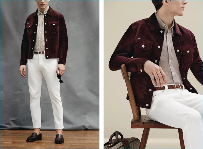 Prada's white slim-fit tapered denim jeans $620 steal the spotlight. Pair the summer staple with a Tom Ford slim-fit suede jacket $5,990 and Brunello Cucinelli button-down collar slub linen shirt $475. This look also enjoys accessories such as a Brunello Cucinelli 2.5cm brown braided leather belt $575, Helbers polished leather loafers $695, and Moscot Gelt square-frame tortoiseshell acetate sunglasses $290.